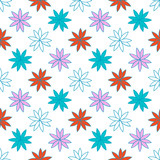 Seamless pattern with colorful flowers. Floral ornament background. Vector illustration.   - 256066649