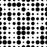 Black and white seamless pattern with grunge halftone dots. Dotted texture. Halftone dots background. Polka dot infinity. Abstract geometrical pattern of round shape.Screen print. Vector illustration - 256066810