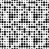 Black and white seamless pattern with grunge halftone dots. Dotted texture. Halftone dots background. Polka dot infinity. Abstract geometrical pattern of round shape.Screen print. Vector illustration - 256066821