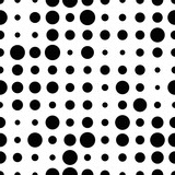 Black and white seamless pattern with grunge halftone dots. Dotted texture. Halftone dots background. Polka dot infinity. Abstract geometrical pattern of round shape.Screen print. Vector illustration - 256066843