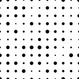 Black and white seamless pattern with grunge halftone dots. Dotted texture. Halftone dots background. Polka dot infinity. Abstract geometrical pattern of round shape.Screen print. Vector illustration - 256066882