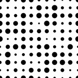 Black and white seamless pattern with grunge halftone dots. Dotted texture. Halftone dots background. Polka dot infinity. Abstract geometrical pattern of round shape.Screen print. Vector illustration - 256067019