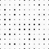 Black and white seamless pattern with grunge halftone dots. Dotted texture. Halftone dots background. Polka dot infinity. Abstract geometrical pattern of round shape.Screen print. Vector illustration - 256067024