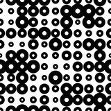 Black and white seamless pattern with grunge halftone rings. Dotted texture. Halftone dots background. Polka dot infinity. Abstract geometrical pattern of round shape.Screen print. Vector illustration - 256067067