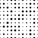Black and white seamless pattern with grunge halftone dots. Dotted texture. Halftone dots background. Polka dot infinity. Abstract geometrical pattern of round shape.Screen print. Vector illustration - 256067068