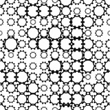 Black and white seamless pattern with grunge halftone geometric shapes, texture infinity. Abstract geometrical background. Screen print. Vector illustration. - 256067214
