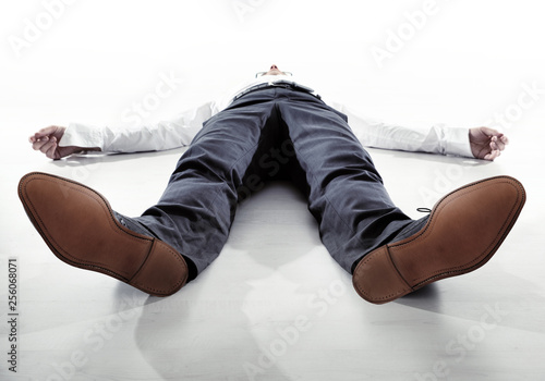 Leinwanddruck Bild Tired businessman having a nap - isolated