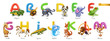 Zoo alphabet. Funny animals, 3d vector icons set. Letters A - M Part 1. Alligator, bee, cat, dog, elephant, frog, giraffe, horse, iguana, jellyfish, kangaroo, lion, monkey. - 256070638