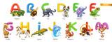 Zoo alphabet. Funny animals, 3d vector icons set. Letters A - M Part 1. Alligator, bee, cat, dog, elephant, frog, giraffe, horse, iguana, jellyfish, kangaroo, lion, monkey.