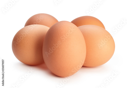 heap of chicken eggs isolated on white background