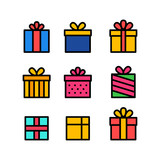 Set of gift box with ribbon. Box line icons. Surprising gift box. Vector illustration.