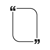 Quotes icon vector. Quotemarks outline, speech marks, inverted commas or talking marks collection. Vector line art illustration isolated on white background.