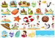 Set of summer beach collection
