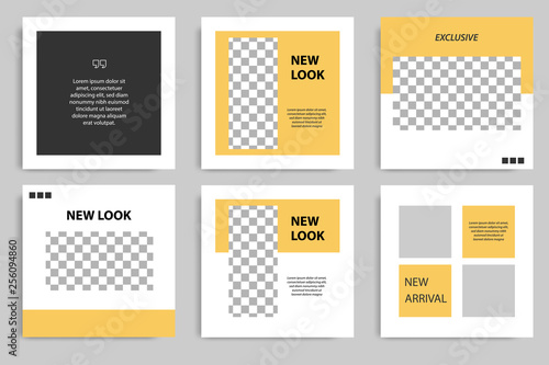 Editable square abstract geometric banner template for social media post. Black and yellow frame in the white background. Minimal design background vector illustration