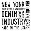 Denim label typographic elements
