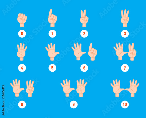 Hand count.finger and number, illustration vector