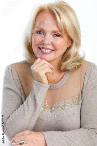 Smiling elderly senior woman - 256111217