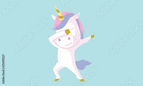 Vector cartoon illustration of cute unicorn with dab pose. Isolated on blue background.