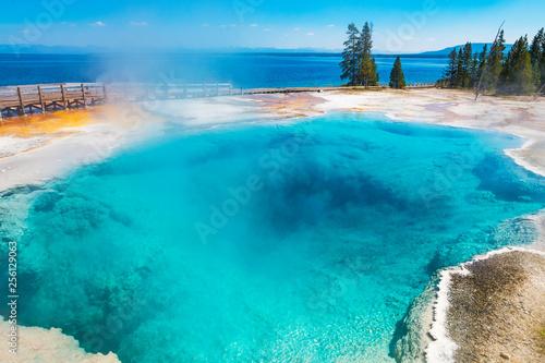 Deep blue hot springs pool