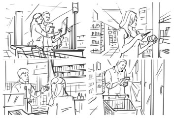 Storyboard with people at grocery/cafe