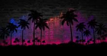 "Постер, картина, фотообои ""Night landscape with stars, sunset, stars. Silhouette coconut palm trees Vintage tone. Lights of the night city, neon, coast."""