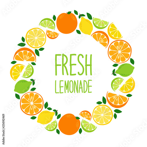 Cute Citrus Fruits Lemon, Lime and Orange background in vivid tasty colors ideal for Fresh Lemonade - 256142469