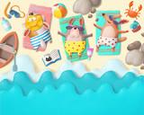 Summer holiday scene on the beach