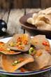 shrimp rice cracker in food Thai on wood  - 256146647