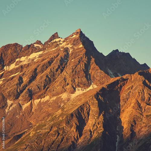 alpine landscape. natural mountain background. vintage toning and retro stylization