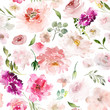 Seamless summer pattern with watercolor flowers handmade. - 256164227