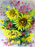 Abstract bright colored decorative background . Floral pattern handmade . Beautiful tender romantic summer bouquet of sunflowers , made in the technique of watercolors from nature.