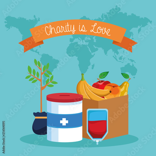 Charity is love cartoon - 256164895