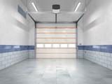 Garage with rolling gate. 3d illustration