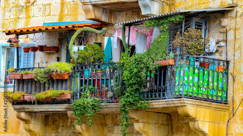 colorful flower balcony in croatia