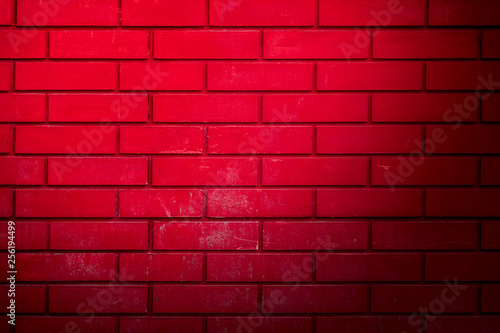 Red brick wall as abstract background - 256194499