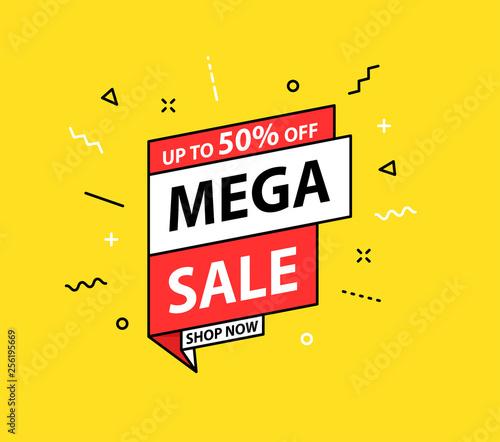 Sale tag. Special offer, big sale, discount, best price, mega sale banner. Shop or online shopping. Sticker, badge, coupon, store. Vector Illustration.