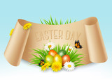 Happy Easter background. Colorful eggs on green grass and flowers. Vector.