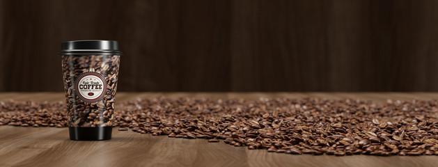 Panorama mit Kaffee Becher To Go und Bohnen