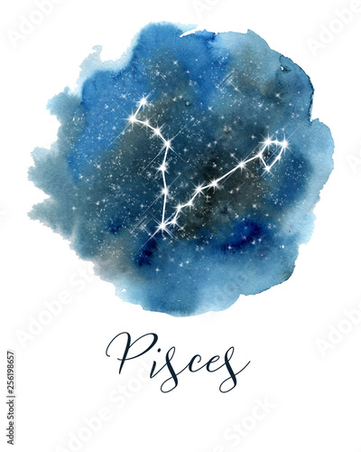 obraz PCV Dark blue hand drawn watercolor night sky with stars. Rough, artistic edges. Raster version.