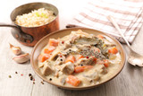 blanquette de veau, veal stew with sauce and vegetable, french gastronomy - 256199441