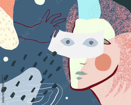 Abstract Work With Mask - 256200035