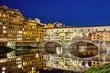 Leinwanddruck Bild -  Ponte Vecchio in Florence, Italy, on a summer night.