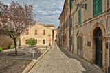 Piazza of the town of Montecosaro, Marche region