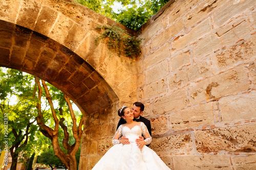 Happy wedding couple posing in park under old arch