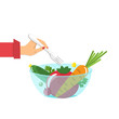 Vegetables in a glass bowl and womans hand with a fork. Healthy eating concept. Vector illustration.