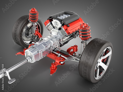 Suspension of the car with wheel and engine Undercarriage in detail isolated on black gradient background 3d
