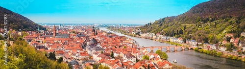 Leinwanddruck Bild Heidelberg panorama in summer, Baden-Wurttemberg, Germany