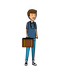 tourist man with suitcase character