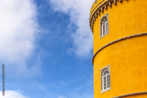 A round yellow tower of Pena National Palace in Portugal, Sintra