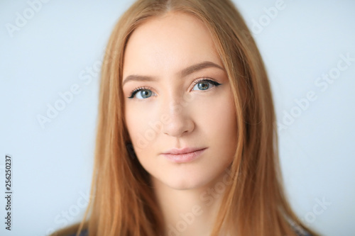 Leinwandbild Motiv Beautiful woman in close-up